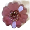 Glass 22mm Flower With Heart Shape Petals Amethyst With Shank